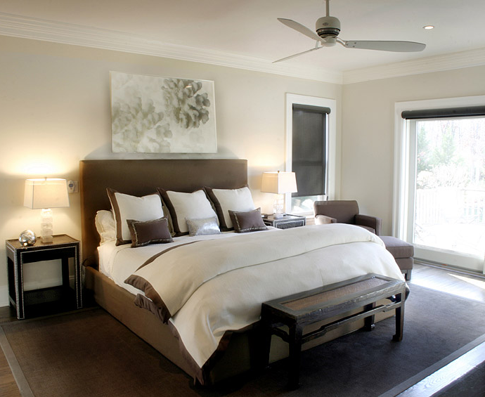 Brown headboard transitional bedroom elsa soyars for Black white and brown bedroom ideas