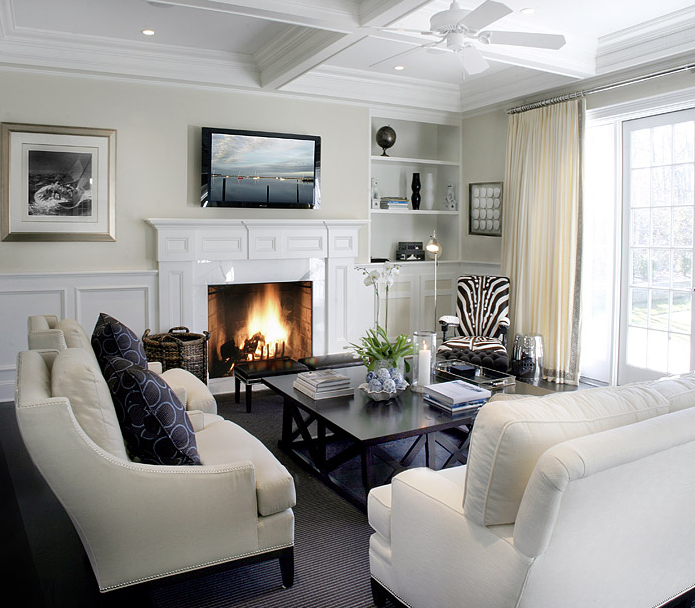 Navy And White Board Batten Living Room Design: Living Room Wainscoting