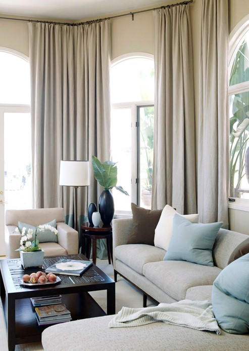 Linen curtains transitional living room bhg for Brown taupe living room
