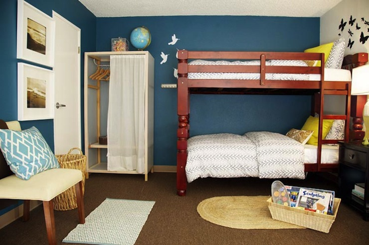 Red Bunk Beds Transitional Boy S Room Turquoise La