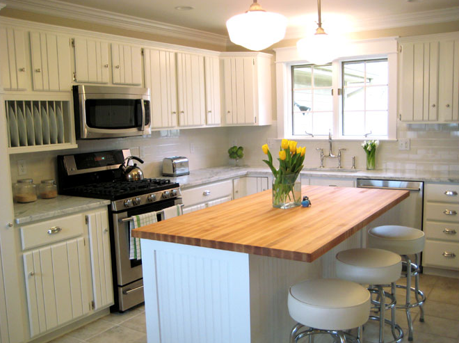 Beadboard kitchen cabinets cottage kitchen summer for Beadboard kitchen cabinets