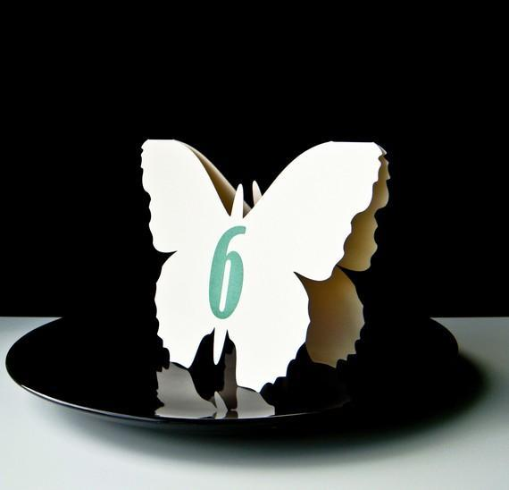 Butterfly Tent Style Table Number Cards series 2 by cuddlecreature & Tent Style Table Number Cards series 2 by cuddlecreature