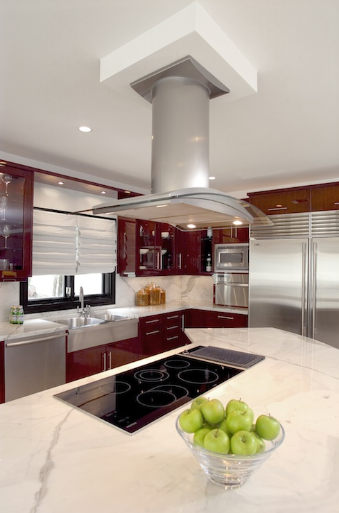 Statuary Marble Countertops Contemporary Kitchen