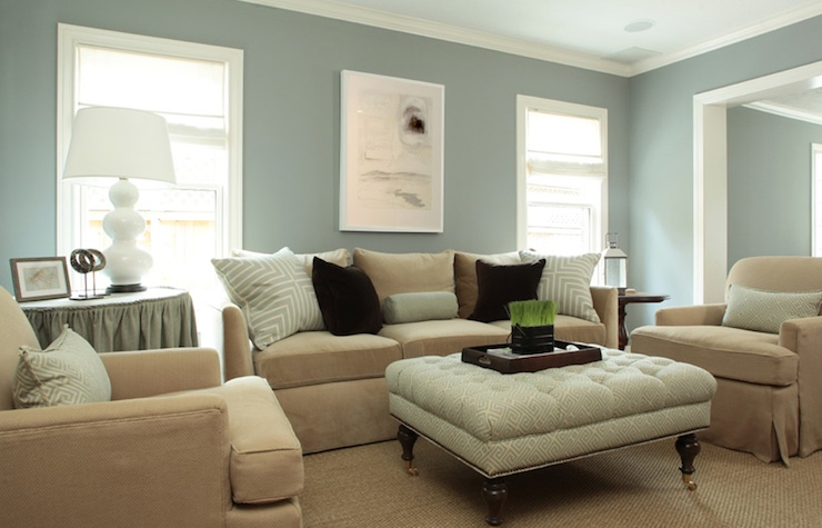 Lovely Transitional Blue Beige Living Room With Gray Walls Paint Color White Mitered Pillows Velvet Tan Sofa And Chairs Skirted Table