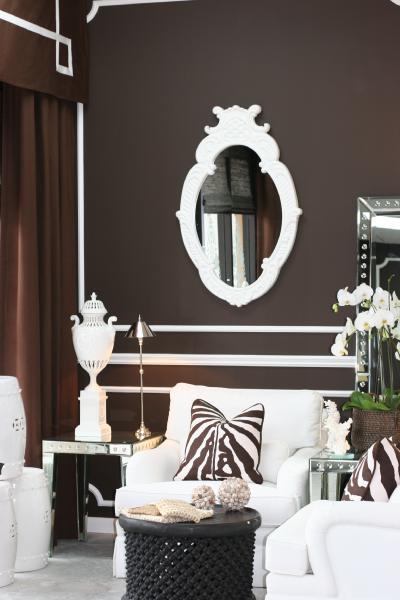 Greek Key Valance Contemporary Living Room