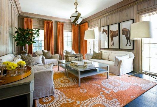 White U0026 Orange Living Room Design With Orange Curtains, Orange Medallion  Rug, White Slip Covered Sofas And Chairs, Horse Art Sandy Chapman Zodiac  Pendant ...