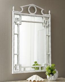 the horchow collection white faux bamboo mirror