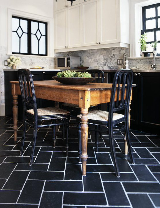 black and white floor tile kitchen. Farmhouse Dining table  Transitional kitchen