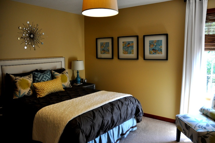 Mustard Yellow Paint Color Contemporary Bedroom Sherwin Williams Blonde