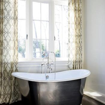 Fioretto Sprout Fabric Curtains, Transitional, bathroom, Melanie Turner Interiors