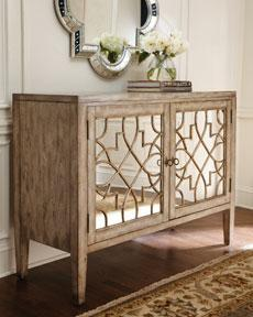Horchow Weathered Wood Mirrored Quatrefoil Console