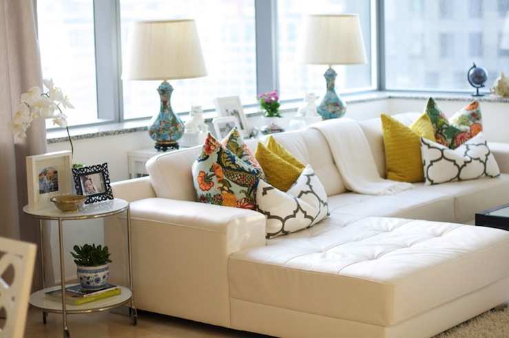 White leather sectional eclectic living room caitlin for Living room ideas with white leather couches