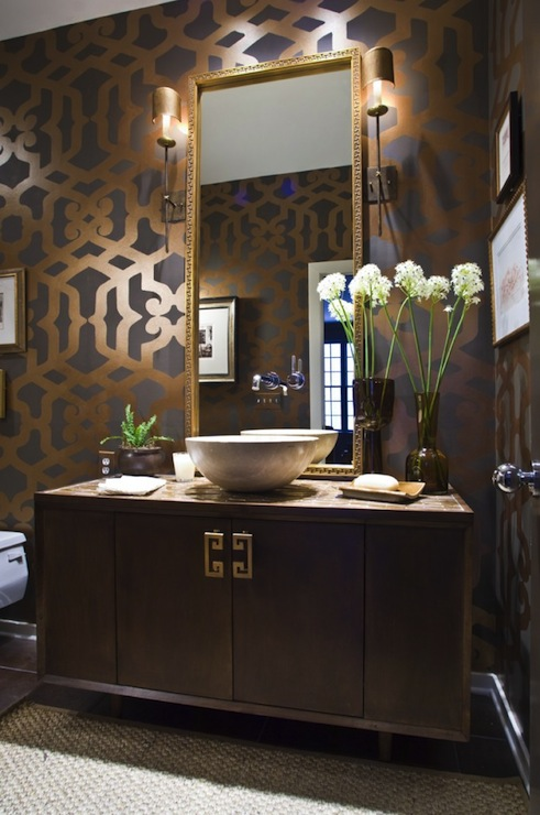 Trellis Wall Stencil Contemporary Bathroom Summer