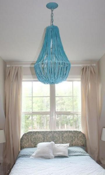 make a turquoise beaded chandelier dollar store crafts - Turquoise Chandelier Light