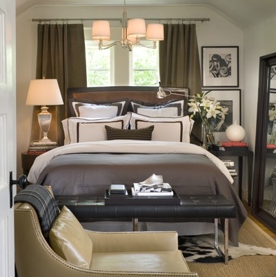 Gray And Brown Bedroom Alluring Headboard In Front Of Window  Contemporary  Bedroom  David Jimenez Design Inspiration