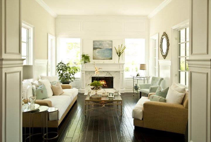 Lovely Beachy Cottage Living Room Design With White Marble Fireplace, Glossy  Espresso Wood Floors, French Brass Antique Mirrored Cocktail Table U0026 Round  Nesting ... Part 12