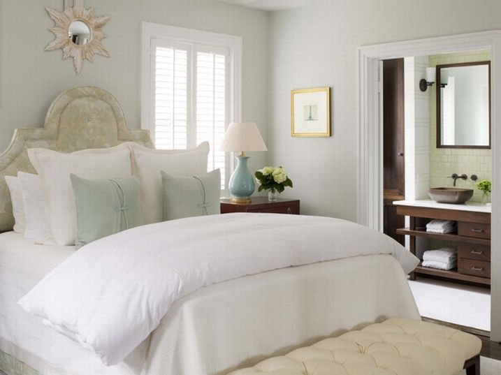 Cream Tufted Bench Transitional Bedroom Phoebe Howard