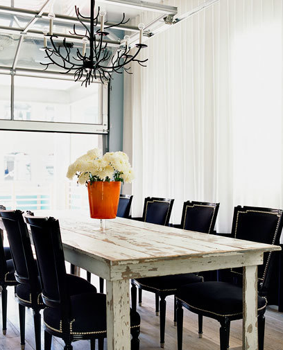 Eclectic Dining Room Tables: Black Velvet Dining Chairs- Eclectic