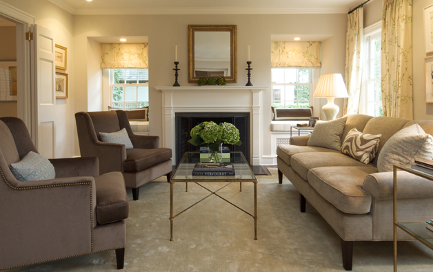 Neutral Front Room Ideas Of Brass Glass Coffee Table Transitional Living Room