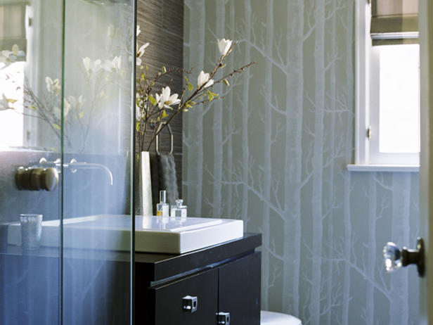 Woods wallpaper contemporary bathroom erinn v design for Bathroom wallpaper