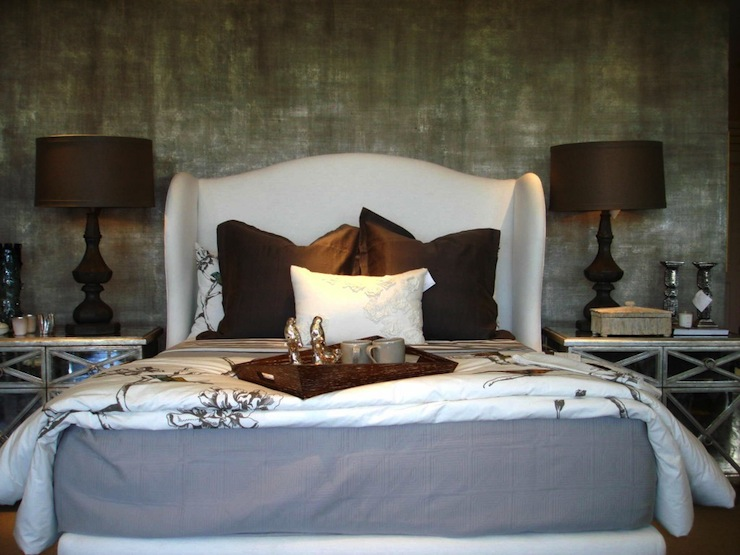 Wingback Upholstered Headboard Contemporary Bedroom
