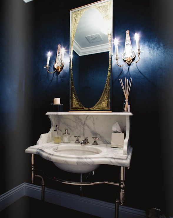 Calcutta marble washstand transitional bathroom for Dark blue bathroom decor