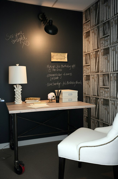 Chalkboard accent wall contemporary den library office for Wallpaper for office wall