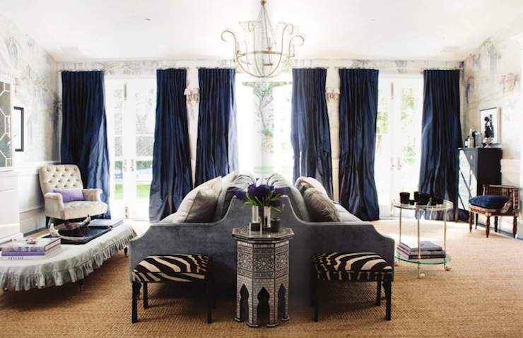 navy blue velvet curtains bedroom zebra ottoman french living room windsor smith home