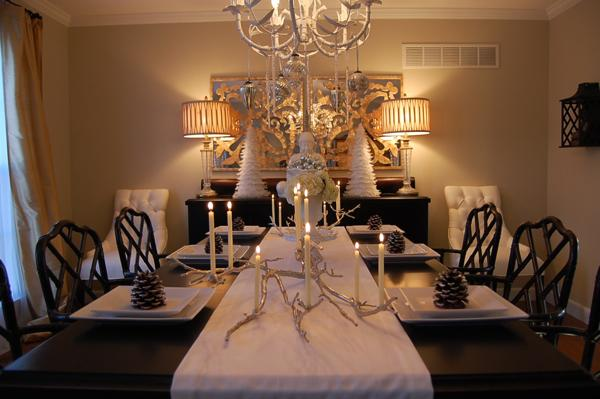 Silver manzanita candelabra asian dining room benjamin moore grant beige - Black and silver dining room set designs ...