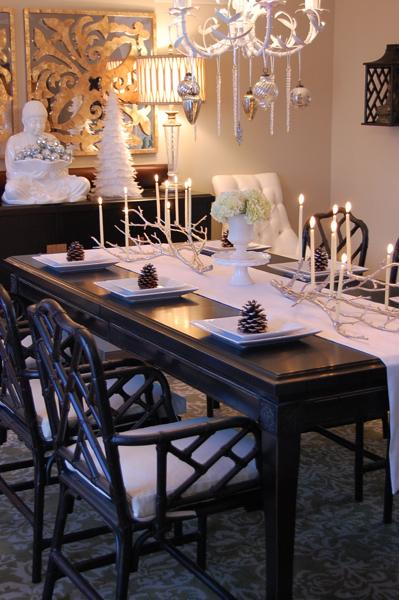 Tablescape Table Setting White Faux Bamboo Chandelier Mercury Glass Icicle Ornaments Custom Made Solid Wood Glossy Black Lacquer Asian Dining