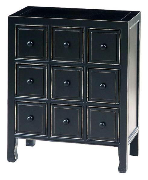 Apothecary CD DVD Chest w 9 Drawers in Distressed Black
