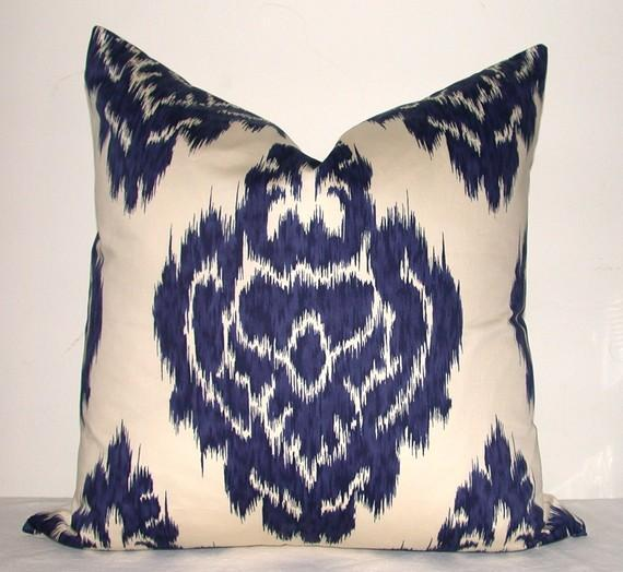 Designer Fabric Pillow Cover Ikat Print Blue Cream By Kyoozi