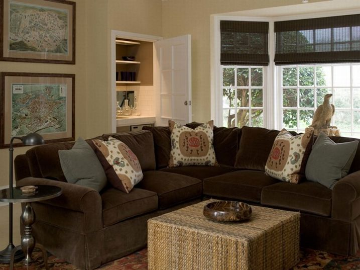 brown comfy cozy living room design with brown velvet sectional sofa