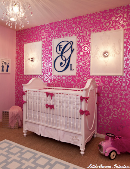 Pink Metallic Wallpaper Contemporary Nursery Little