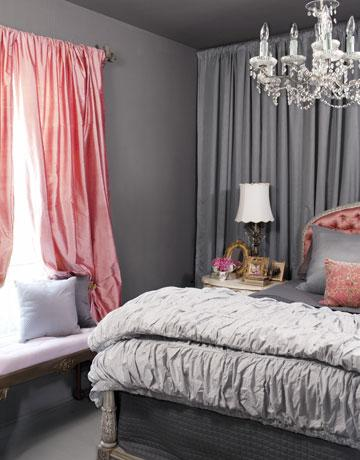 Elizabeth Carney   Charcoal Gray U0026 Salmon Pink Romantic Bedroom Design With  Gray Walls, Salmon Pink Silk, Drapes, Gray Pintuck Bedding, Salmon Pink  Tufted ...