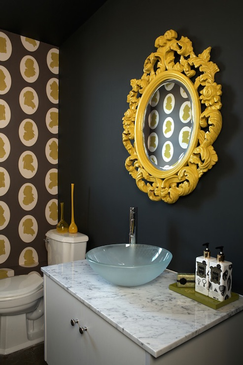 Yellow bathroom wallpaper design ideas for Yellow and brown bathroom decor