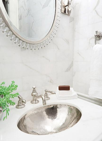 hammered silver sink transitional bathroom erik goldstein photography