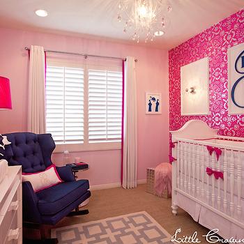Pink Metallic Wallpaper, Transitional, nursery, Little Crown Interiors