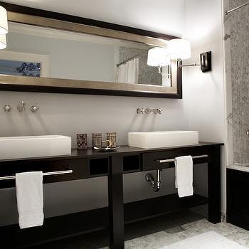 Dark Brown Double Washstand, Contemporary, bathroom, Nest Interior Design