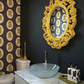 Bathrooms Yellow Ornate Mirror Black Walls White Brown Green Silhouette Art Vessel Sink