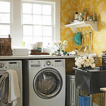 Yellow Laundry Room, Cottage, laundry room