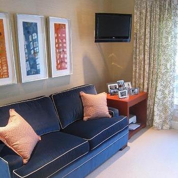 Blue Velvet Sofa, Contemporary, den/library/office, Massucco Warner Miller