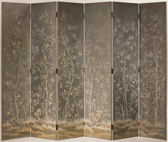 Folding Screen With Bamboo Motif
