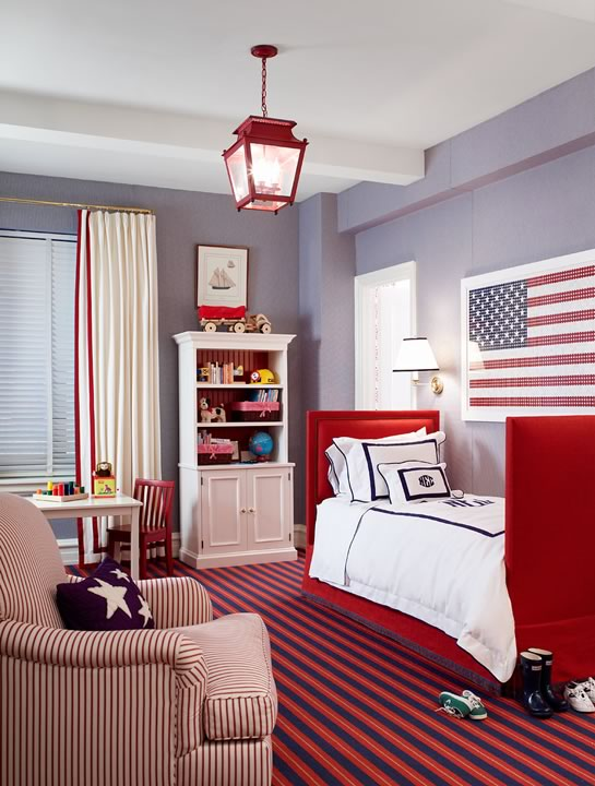 Red white and blue boy 39 s room traditional boy 39 s room for Blue and white boys room