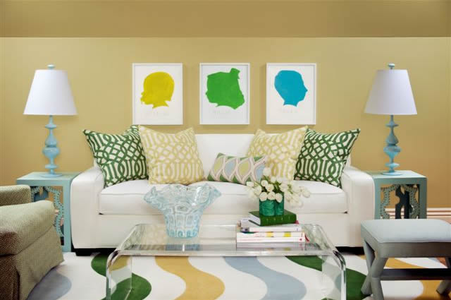 Yellow Green U0026 Blue Contemporary Living Room Design With White Sofa, CB2  Acrylic Peekaboo Clear Coffee Table, Blue Lamps U0026 Tables, Citrine U0026  Trelliage Kelly ...
