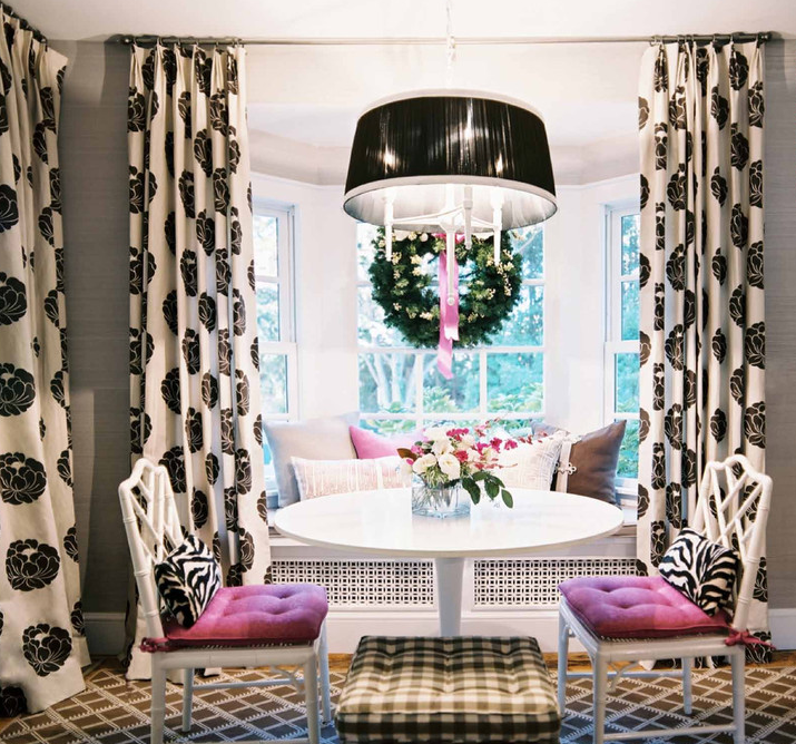 Black and White Curtains - Contemporary - dining room - Lonny Magazine