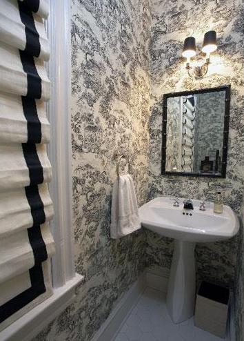 Black and white roman shades transitional bathroom patrick j baglino interior design - Toile bathroom decor ...