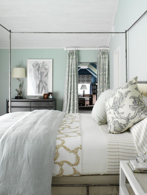 Blue gray paint colors traditional bedroom sherwin for Green bedroom design