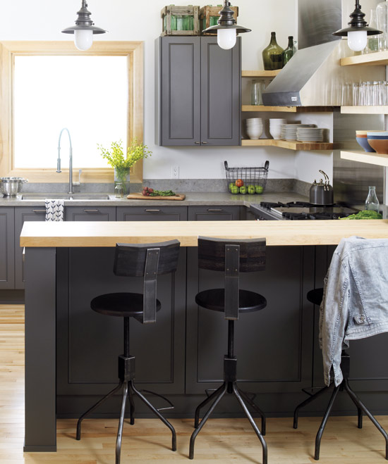Charcoal gray kitchen design with gray kitchen cabinets, butcher block
