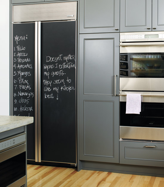 Chalkboard door transitional dining room for Chalkboard paint kitchen cabinets